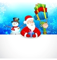 Santa Claus and Snowman wishing Merry Christmas vector image vector image