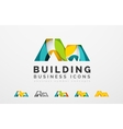 Set of real estate or building logo business icons vector image