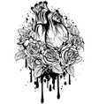 human heart with roses vector image