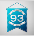 Blue pennant with inscription ninety three years vector image