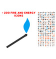 match fire icon with bonus power collection vector image