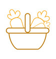 silhouette supermarket basket with carrots vector image
