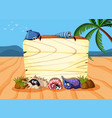 wooden board on the sand vector image