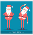 santa claus doing yoga christmas card vector image