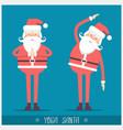santa claus doing yoga christmas card vector image