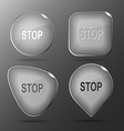 Stop Glass buttons vector image