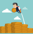 businessman flying jetpack with coin vector image