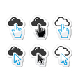 Cloud with cursor hand and arrow icons set vector image