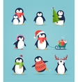 Cute penguins set - Merry Christmas greetings vector image