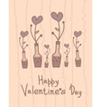 Cute vase with hearts flowers Happy Valentines vector image