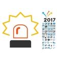 Emergency Siren Icon with 2017 Year Bonus Symbols vector image