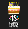 Happy birthday cake card 18 eighteen year party vector image