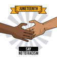 juneteenth day hands say no to racism vector image