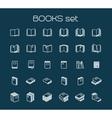 Line art books set vector image
