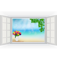 Open window with tulip flowers and leaf vector image