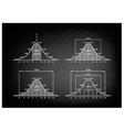 Set of Normal Distribution Diagram on Blackboard vector image