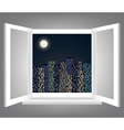 window and night city vector image