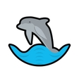 dolphin ocean fish friendly wave stamp vector image