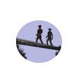 Hikers Crossing Single Log Bridge Oval Woodcut vector image