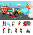 colorful firefighting composition vector image vector image