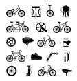 Bicycle accessories black icons set vector image