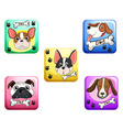 Dog on square badges vector image