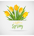 Vintage Spring Card - with Yellow Tulips Flowers vector image