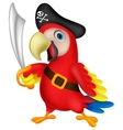Cute parrot pirate cartoon vector image