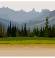 landscape road coniferous forest mountains vector image