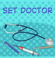 pop art comic style set of medical objects vector image