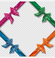 set of realistic colorful satin bows and ribbons vector image