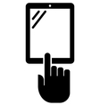 Vertical tablet with hand icon vector image