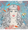 Mermaid girl among corals and fishes vector image