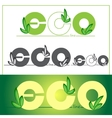 Set green eco logos on colored background vector image