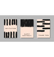 black brush strokes pastel pink greeting cards set vector image vector image
