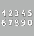 Hand drawn white numbers vector image