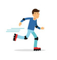 active boy roller skating cartoon character kids vector image