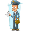 Cartoon postman in blue uniform with vector image