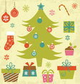 Christmas tree with gifts and ornaments vector image