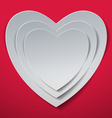 Valentines Day White Hearts cut out from Paper vector image