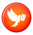 Dove carrying envelope icon flat style vector image