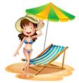 A girl near a foldable beach bed and umbrella vector image