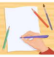 Writing hand vector image vector image