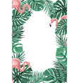 tropical jungle leaves flamingos frame portrait vector image