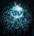 disco ball with silhouettes of people dance party vector image