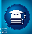 A graduate of the hat on the books icon teachings vector image vector image