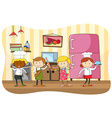 Bakers and chef working in the kitchen vector image