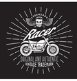 racer vintage print with motorcycle wings and vector image