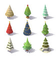 low poly christmas trees vector image