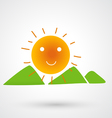 mountains on the sun icon vector image